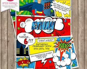 Retro Comic Superhero Invitation - You Print