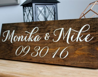 Introducing the Bride and Groom Rustic Wedding Sign, Bride & Groom Initials, Wedding Date Sign, Wedding Decor