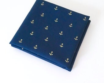 Gold Anchor Fabric on Navy - Metallic Gold Nautical Fabric for Quilting, Bedding, and Decor by the Yard
