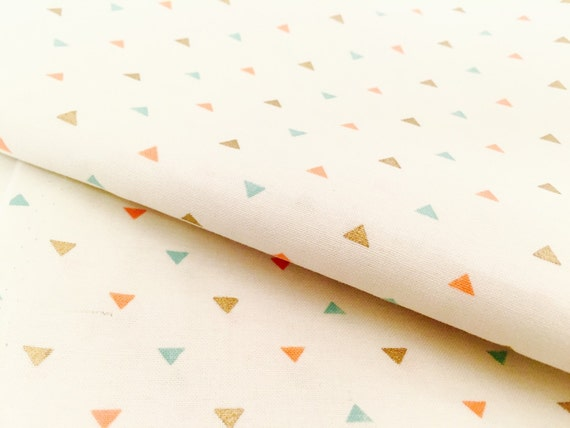 Mini Gold and Pastel Triangle Fabric - Metallic Gold, Coral, Mint, and Teal - Geometric Pattern for Baby Nursery and Home Decor Crafts