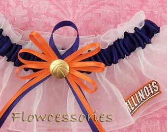 Pick Charm - University of Illinois Fighting Illini U of I handmade bridal wedding garter - keepsake