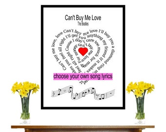 Can't Buy Me Love, The Beatles Song Lyric heart Spiral art Beatles Music Art Art Print
