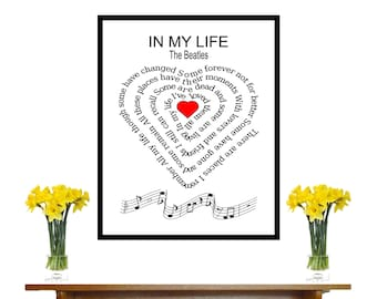 The Beatles, In My Life, art,  Typography art ,print,  Music art print, Song Lyric, heart ,Spiral art,  Music