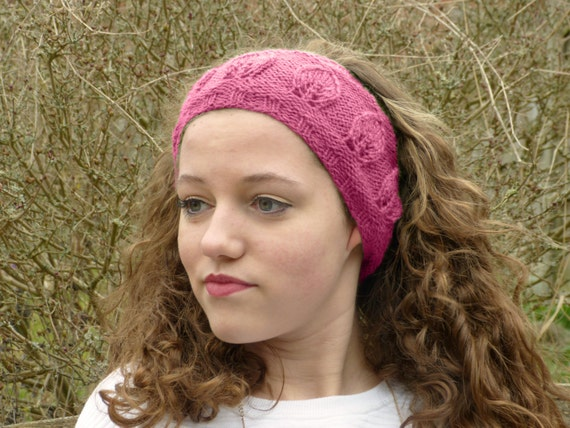 Knit Headband Pattern In The Round : Knitting Pattern PDF Leaf Motif Headband (Knit in the ...