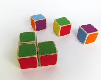 "Wooden Blocks - Rainbow Blocks - Organic Wooden Toddler Toys - Waldorf Toy - Play Building Blocks - Baby Blocks - 1.5"" set of SIX"