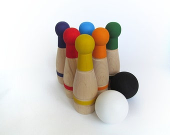 Gift for baby - RAINBOW Wooden Bowling Game - 6 Pin Bowling Game Set - Wooden Toy Skittles - Waldorf - Gift for a Toddler - Boy or Girl