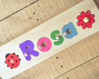 4 Letter Wooden Personalized Name Puzzle shape each side | add personalized engraved message on back for a keepsake gift.
