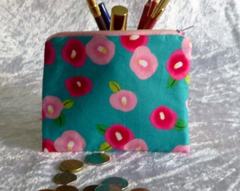 Retro Coin Purse, Floral Make-up Bag,  Pink Coin Purse, Funky Coin Purse, Funky Make Up Bag, Flower Zippered Purse, Gift for her