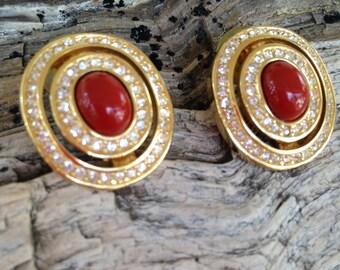 Vintage Christian Dior Rhinestone with Faux Carnelian Pierced Earrings