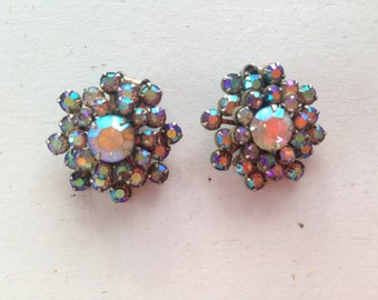 Signed Weiss Peach and Blue AB Rhinestone Sunburst Earrings 0482