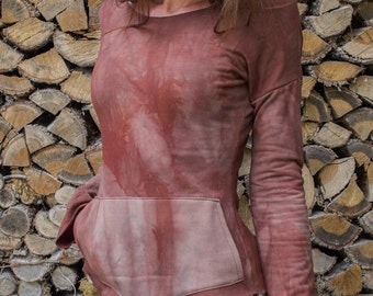 TARA • dolman sleeve pullover • organic cotton/bamboo stretch fleece • hand dyed • xs