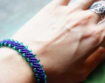 Beaded Macrame Adjustable Bracelet