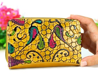 Cool wallets, leather wallets, women wallets, cute wallets, handmade leather wallets embossed and hand painted - b