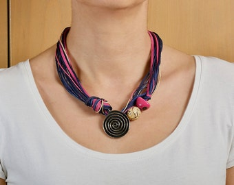 Chunky necklace, spiral pendant necklace, short necklace, free shipping necklace, tagua jewelry, pink navy necklace, women gift.