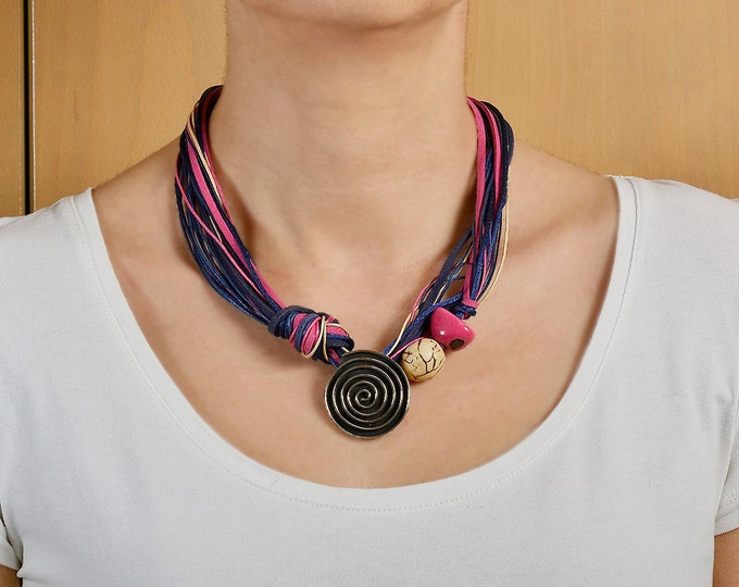 Featured listing image: Chunky necklace, spiral pendant necklace, short necklace, free shipping necklace, tagua jewelry, pink navy necklace, women gift.