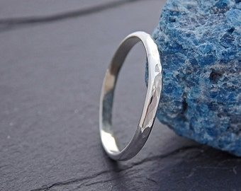 Thin Hammered Half-Round Band Silver Stacking Ring - Hammered Sterling Silver Stackable Ring, Thumb Ring
