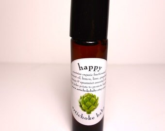 organic happy roll on perfume, apply to pulse points as needed!