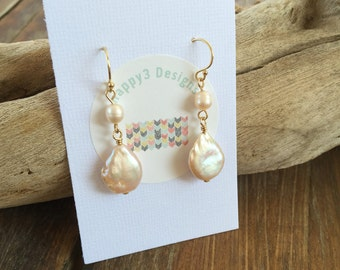 Pearl and Gold Filled Earrings, Dangle Coin Pearl Earrings, Peach Pearl Earrings