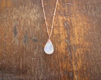 Rose Gold-filled Gemstone Briolette Necklace, Rainbow Moonstone Necklace, Labradorite Necklace, Wire wrapped Necklace