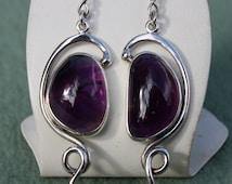 Sterling silver amethyst earrings, handmade in FreeForm style