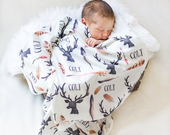 Personalized Baby Blanket-Deer Antlers And Arrows- Boho-Hunting-Nursery-Deer Antler-Swaddle Blanket-Printed Blanket -Baby Boy-Feather Theme
