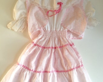 Vintage 70s 1970s girl's pink and white peasant dress with matching vest