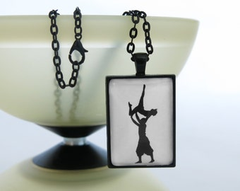 necklace ...pulsadas..., silhouette, black, cabochon, product line …circus…