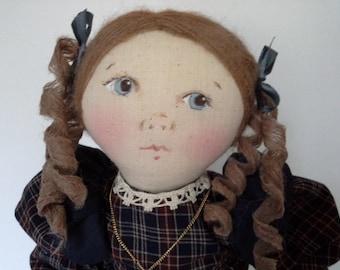Victorian Doll, Folk Art Doll, Handmade Doll, OOAK Cloth Doll, Prairie Doll, Country Doll, OOAK Art Doll, Cloth Art Doll,Victorian Soft Doll