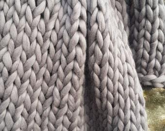 Chunky Knit blanket, Wool knit blanket, Knitted blanket, Chunky blanket, Knit Throw Blanket, super bulky yarn blanket, Bulky Gift