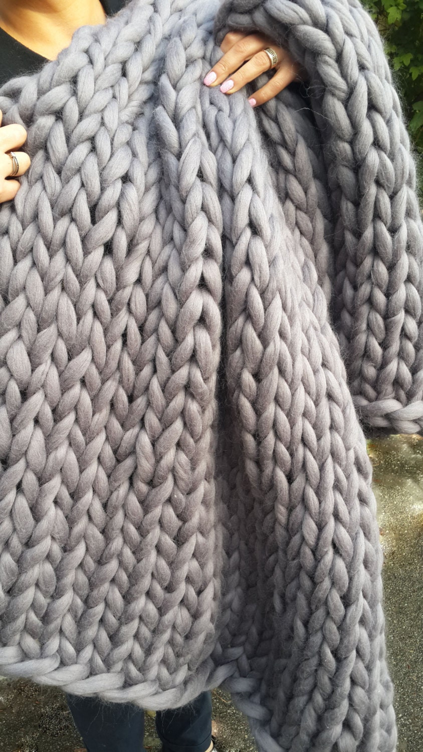 Knitting Wool Blanket : Chunky knit blanket wool knitted