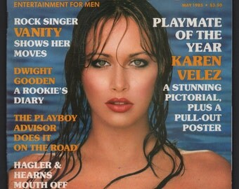 Mature Vintage Playboy Magazine Mens Girlie Pinup Magazine : May 1985 Ex+ White Pages Intact Centerfold