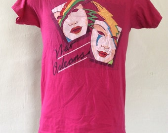 Vtg 1984 New Orleans French Quarter T-Shirt Pink 80s 50/50 Hanes Vacation Souvenir