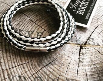 JACK Wrap & Snap Leather Bracelet - Black/White