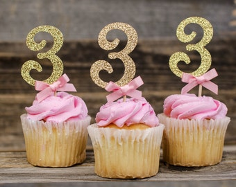 12 Number 3  Cupcake toppers, pink and gold, birthday decorations, Turn 3 cupcake toppers
