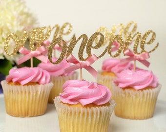 One Cupcake topper, i am one, first birthday cupcake topper, pink and gold birthday decorations-12CT