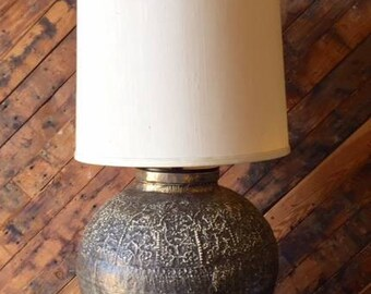 Mid Century Bronze Color Floral Relief Lamp