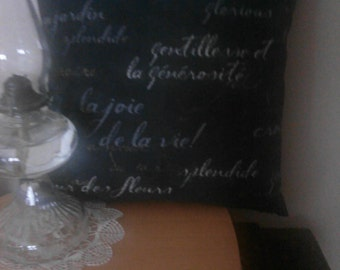 Black pillow cover with French words in muted whites and greys.
