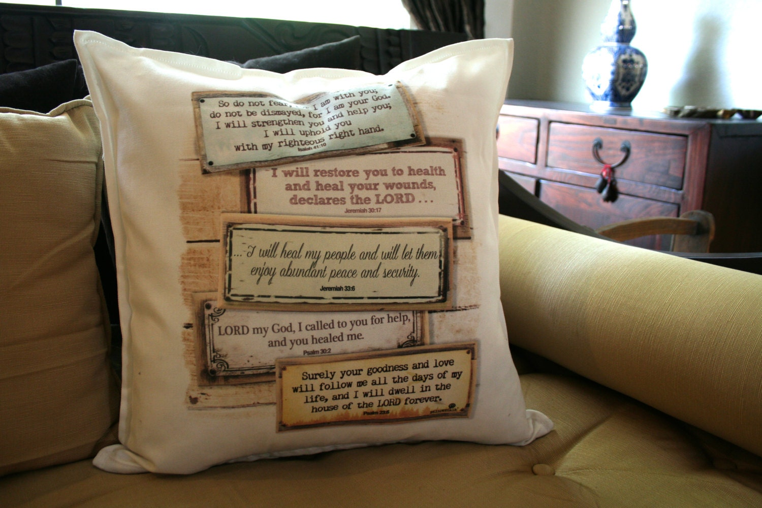 Decorative Pillows With Scripture : Healing Scripture. Pillow cases and Pillows: Decorative