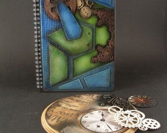 Steampunk notepad- GreenBlue