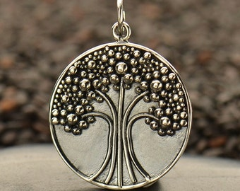 Sterling Silver, Tree of Life, Tree Pendant, Tree with Granulation, Granulation, Silver Tree of Life, Silver Tree Charm, Tree of Life Charm