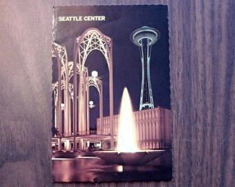 Vintage Postcard, USED, Seattle Center at Night, Seattle, Washington, 1978, mid century