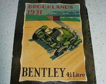 bentley 4 1/2 litre decoupage slate picture