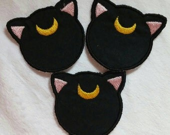 Sailor Moon Luna Embroidery Patch, Iron on Patch, Embroidered Cat Patch