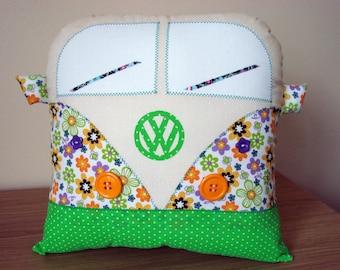 Handmade Retro Style Campervan Cushion Green & Peach (personalised)