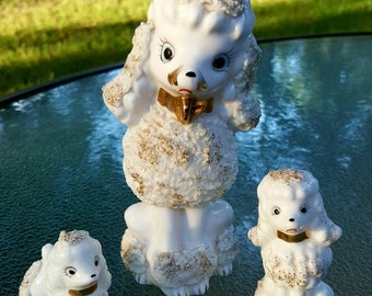 Set of 1950's porcelain poodle figurines, spaghetti poodles, porcelain poodle figurine, Mama poodle and pups, vintage white poodle figurine