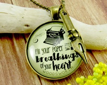 """Writing Necklace 'Fill Your Paper with the Breathings"""" Writer Jewelry Author Swag Author Gift Pen Nib Charm Necklace"""