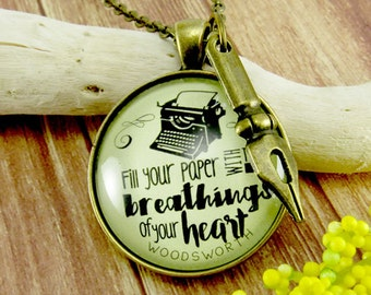 "Writing Necklace 'Fill Your Paper with the Breathings"" Writer Jewelry Author Swag Author Gift Pen Nib Charm Necklace"