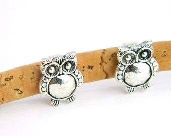 10 pcs Owl metal jewelry accessories, bracelets accessories, Jewelry Findings & Components Fit round 10mm