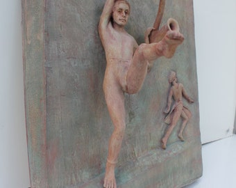 Rednor  Portnoy 1987 Clay Wall Art Sculpture .