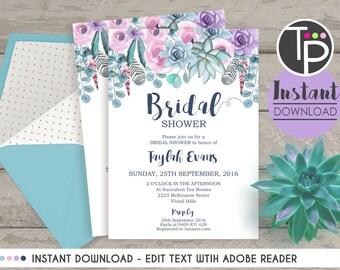 SUCCULENT BRIDAL SHOWER Invitation, Instant Download, Succulents and Flowers Bridal Shower Invitation, Boho Bridal Shower, Succulent Invite